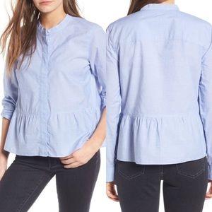 Madewell Lakeside Peplum Shirt In Waterfall Blue